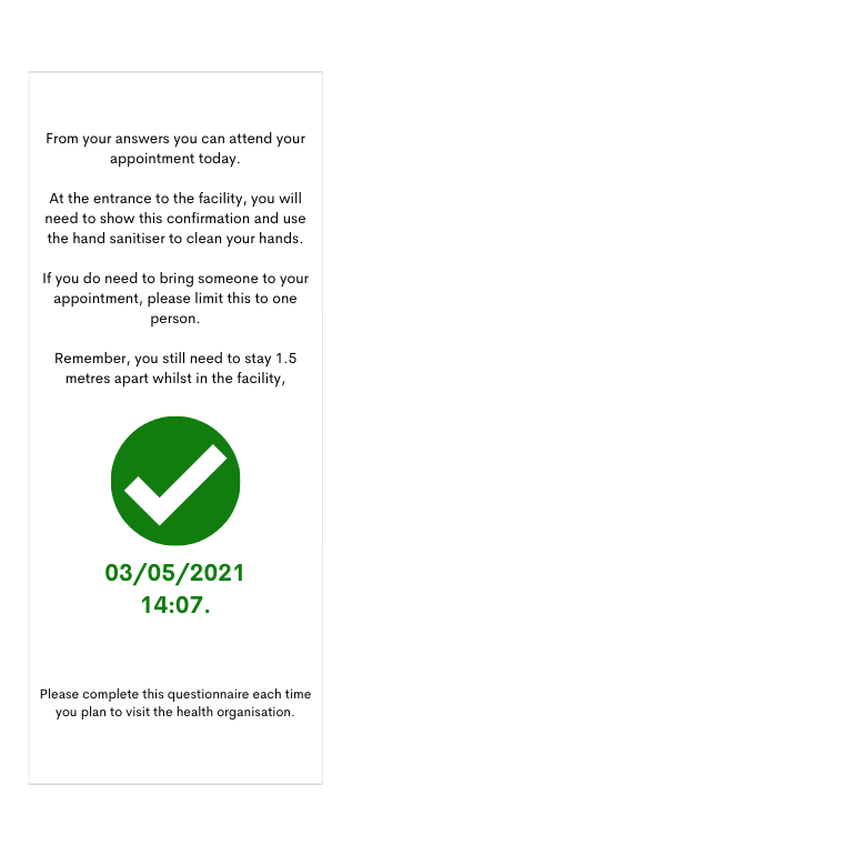 COVID-19 questionnaire approval screen at South West Healthcare